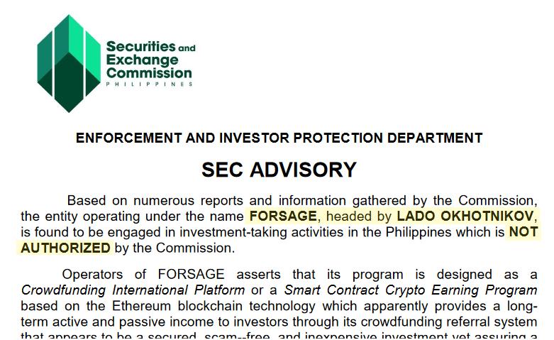 Alerta fraude FORSAGE SEC Filipinas