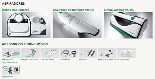 Produtos Kobold (robôs aspiradores, aspirador de bancada e limpa janelas) e acessórios.