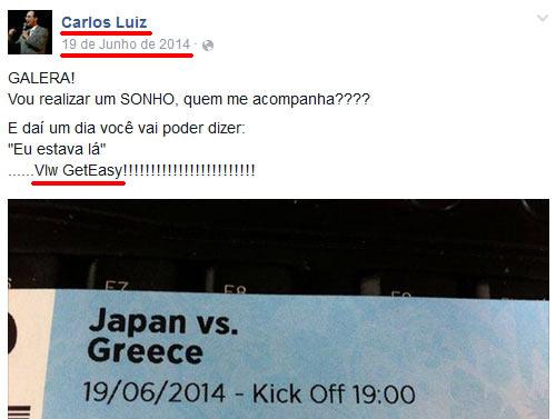 Carlos Luiz provando a sua ligação com o esquema em pirâmide GetEasy (copiado de fraude.pt)