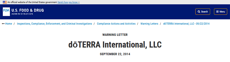 Carta de aviso da FDA à doTERRA