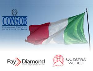 CONSOB suspende fraudes PayDiamond e Questra World na Itália