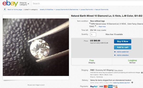 eBay é o melhor site para comprar diamantes baratos para usar nestes esquemas em pirâmide.