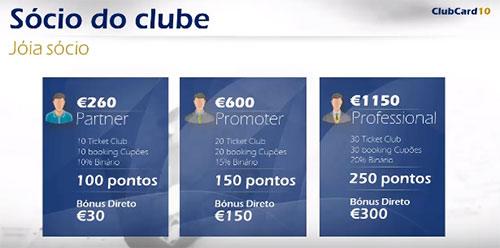 Pacotes de participação no esquema ClubCard10