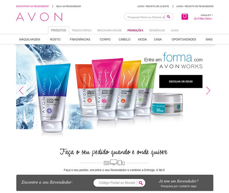 Site da empresa de marketing multinível Avon Portugal