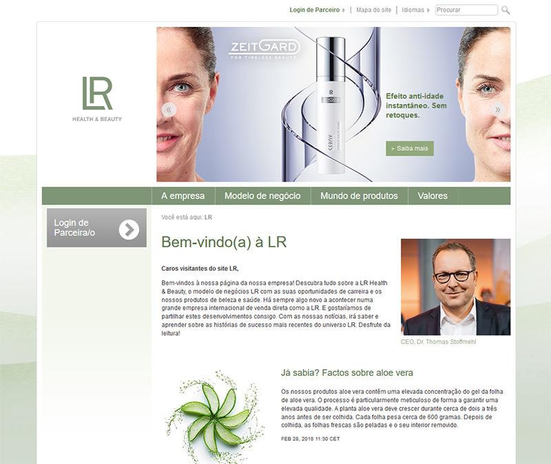 Site da empresa de marketing multinível LR Health and Beauty em Portugal