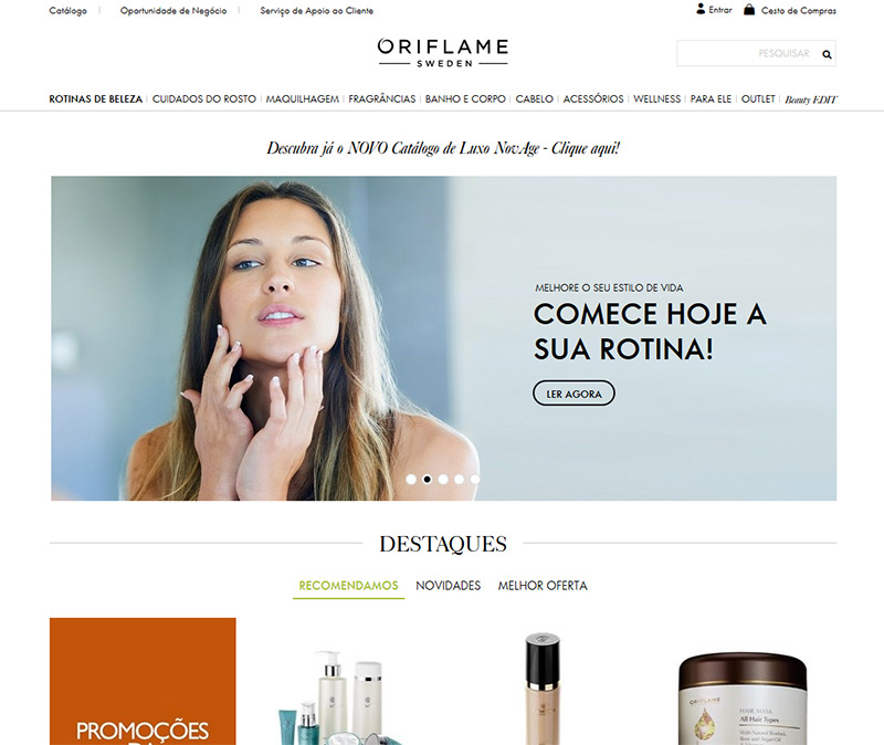 Site da empresa de marketing multinível Oriflame em Portugal