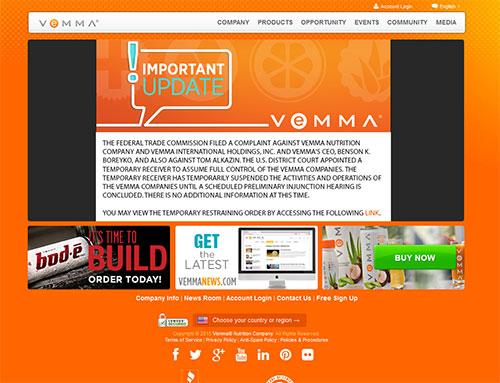 Site da Vemma após a acusação da FTC nos EUA